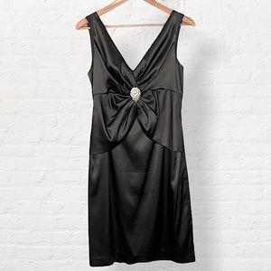 Eliza J. • Black Satin Embellished Cocktail Dress